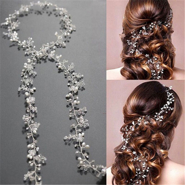 Bridal Wedding Crystal Bride Hair Accessories Pearl Flower Headband Women
