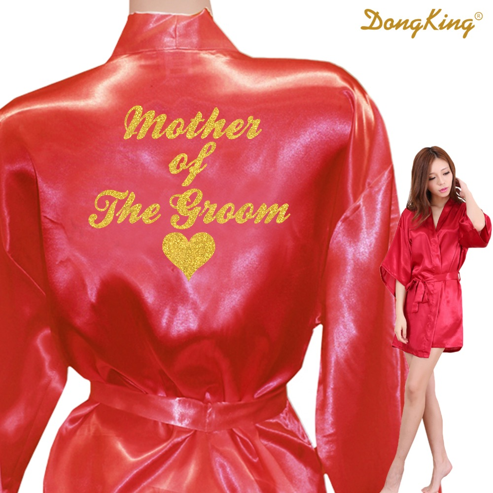 4afeeb4afd7 DongKing MOTHER OF THE GROOM Robes Bridal Party Robe Mother of the Groom  Heart Golden Glitter Print Faux Silk Kimono Satin Robes