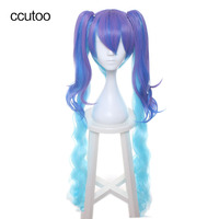 Ccutoo 120cm Blue Purple Ombre Mix Long Curly Synthetic Hair Cosplay Full Wigs With Double Chip