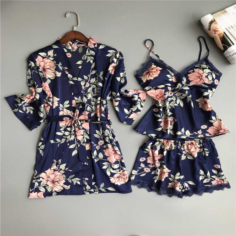 61ef2fc82c49 Women Adjustable Nightwear For Female Sleepwear Robe Women Sexy Lace Floral  Satin Nightgowns V-Neck