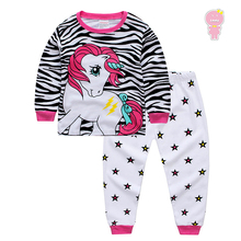 Primavera otoño Cartoon cebra unicornio impresión estrella niñas pijama 2 unids set niños ropa de dormir casa ropa de dormir 80- 125 cm