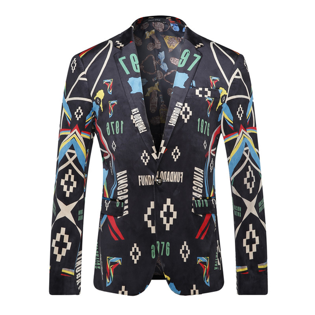 Men Blazer Designs 2016 Famous Brand Mens Floral Blazer Spring Autumn Wedding Dress Stage Jacket Casual Ternos Masculino Q211