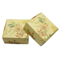 Square Floral Printed Paperboard Box Light Yellow Folding Carton Craft Soap Gift Candy Jewelry Earring Packaging Wedding Party