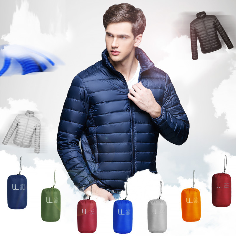 Winter men's   down   jacket 2019 winter Casual mens Thin light White duck   down     coat   male slim Solid color zip Stand collar outwear