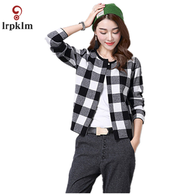 2017 Autumn And Spring Female Sweater Coat Red Gray Plaid Pattern Round  Collar Knit Cardigan Short - Popular Red Plaid Cardigan-Buy Cheap Red Plaid Cardigan Lots From