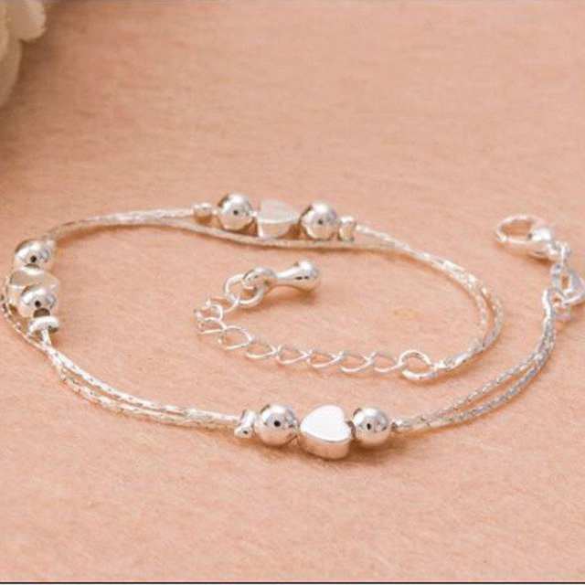 01a2a5589 Online Shop 1PCS Hot Sexy Anklet Foot Chain love Heart Shaped multilayer  Silver Anklets wholesale feet lady fashion Foot Ankle Bracelet