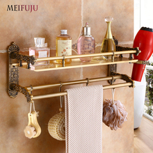 цена на Luxury Carving Antique Single Tier Aluminum Bathroom Shelf Shower Corner Shelf Wall  Bathroom Cosmetic Storage Rack Shelves