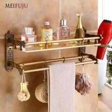 Luxury Carving Antique Single Tier Aluminum Bathroom Shelf Shower Corner Shelf Wall  Bathroom Cosmetic Storage Rack Shelves