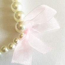 Classic Lace Bowknot Imitation Pearls Chain Necklaces for Kids Baby Girls Princess Dress Accessories Charm Jewelry Gift BS983