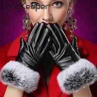 LongKeeper Thương Hiệu Thời Trang Găng Tay Mùa Đông phụ nữ Cổ Tay side Bóng Da Tổng Hợp Ladies găng tay San Hô Fleece Nữ Gloves Guantes