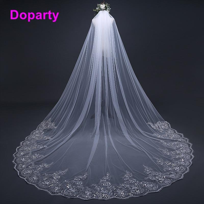 Doparty tulle paillettes 3 mètre dentelle moonshine accessoires de mariage accessoires de mariage voile court avec peigne à long 2018 perlée XS4