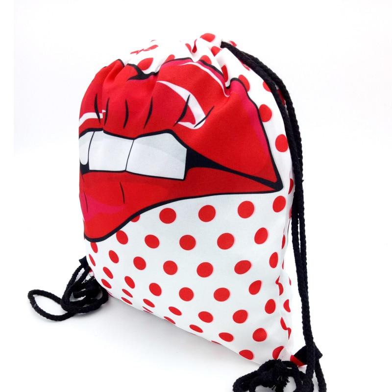 Girls backpack schoolbag for kids childs birthday gift mochila drawstring bag 3D DOT LIPS Polyester Boys backpack Beach bag