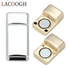 10 pces kc ouro cor magnético fivelas liga de zinco fechos conectores caber 6*3mm cabo de corda de couro liso para diy pulseiras fim fecho