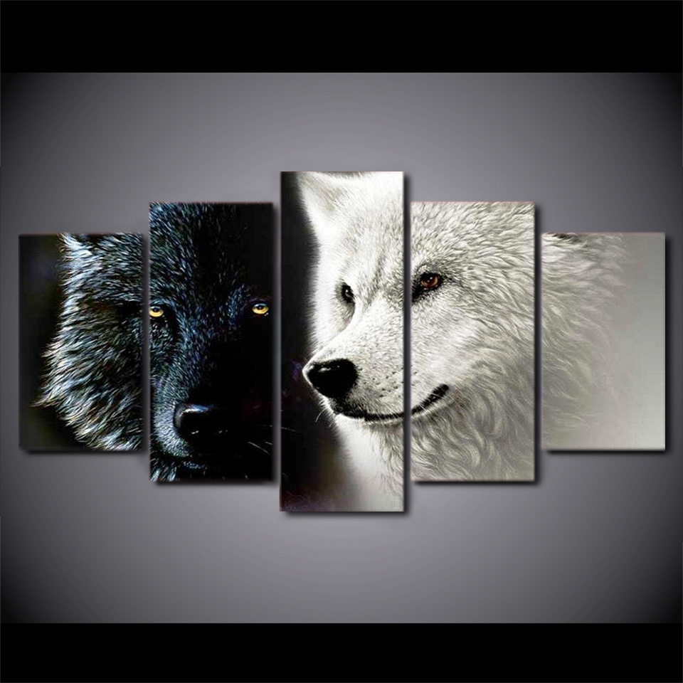 5 PcsSet Framed HD Printed Abstract Black White Wolf