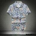 Бренд-Одежда Лето Гавайский 2016 мужская Пляж Рубашка, мужчины С Коротким Рукавом Цветочный Свободные Рубашки Вскользь Плюс Размер М-5XL # A7