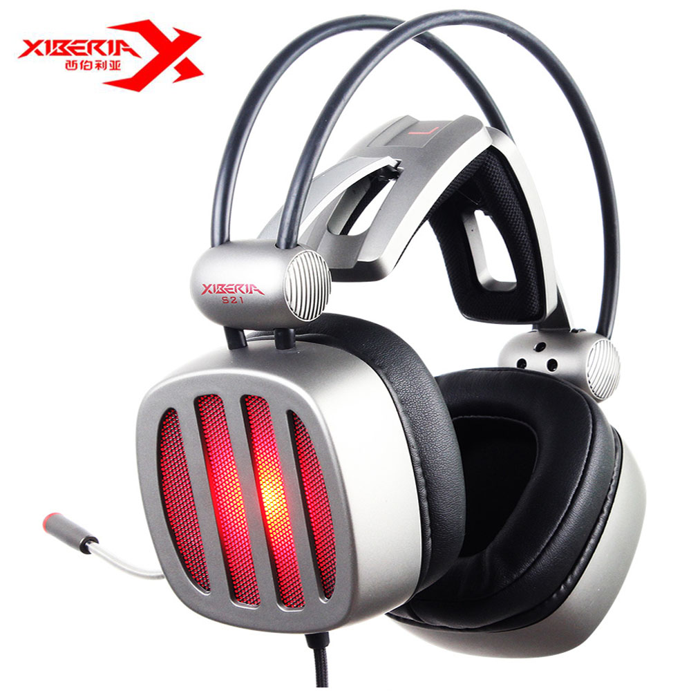 XIBERIA S21 USB Gaming Headphones Over-Ear Noise Canceling LED Stereo Deep Bass Game Headsets With Microphone For PC Gamer original xiberia v5 gaming headphone super bass stereo usb wired headset microphone over ear noise lsolating pc gamer headphones