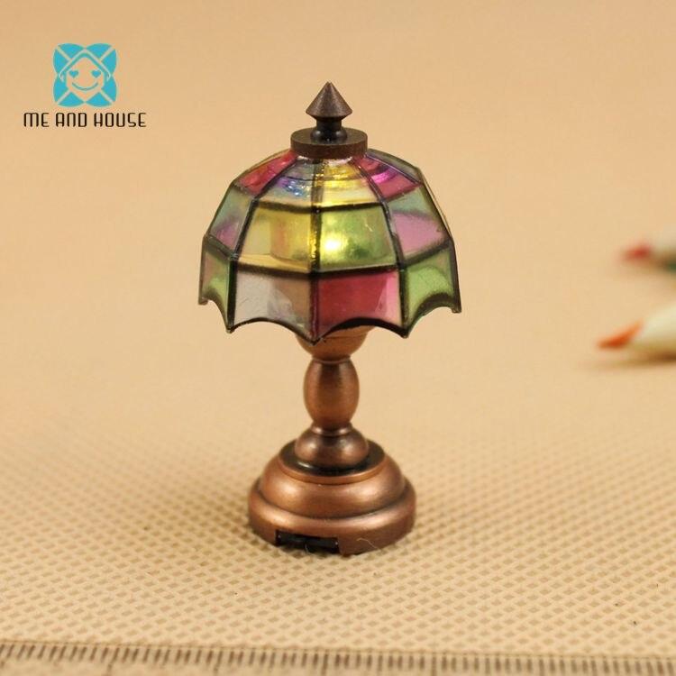 Mini lampe de table led bricolage maison de poupée alimentée par batterie tiffany 1/12 échelle