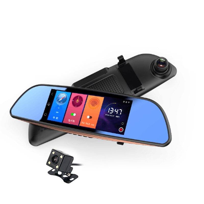 7.0 Inch Android GPS Car Dvr WIFI Bluetooth HD Video Recorder Auto Rear View Mirror Radar Detector Dashcam Dual Car Camera dash camera car dvr dual len rear view mirror auto dashcam recorder registrator in car video full hd dash cam vehicle two camera