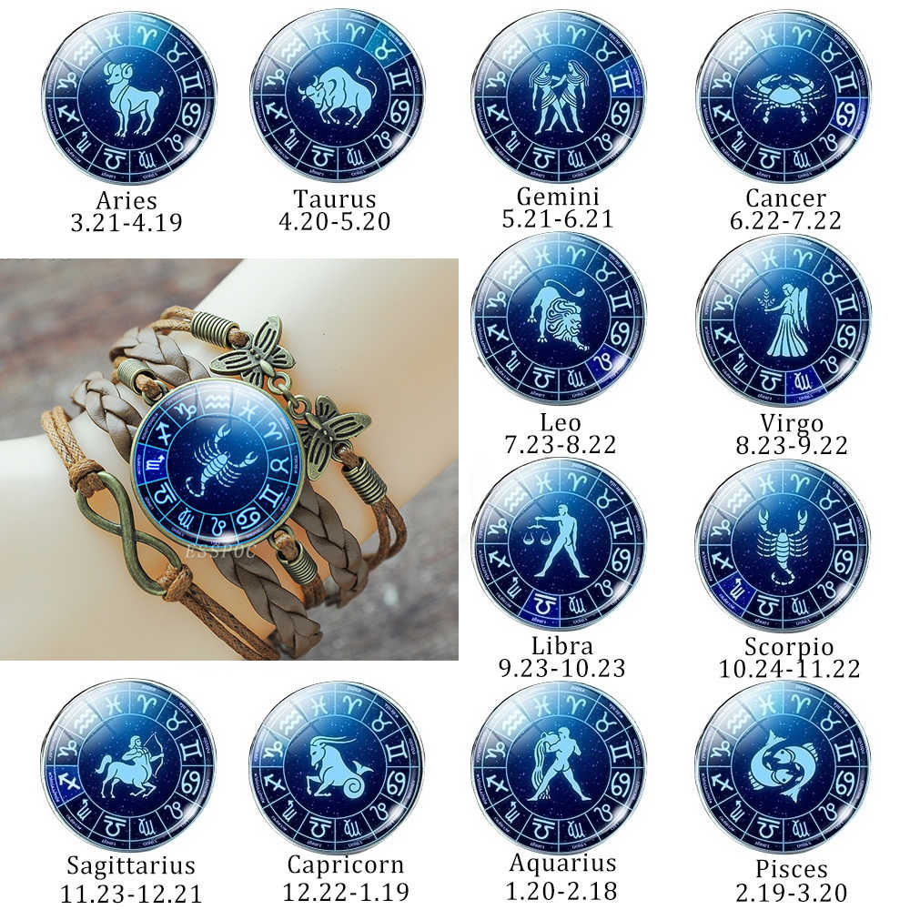 Punk Style 12 Constellation Astrology Multilayer Braided Leather Bracelet Zodiac Sign Infinity Bracelets Bangle Creative Gifts