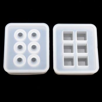 SNASAN 2 piezas molde de silicona para joyería 16mm pelota para cubos cuentas 6 compartimentos resina silicona molde hecho a mano DIY Moldes de resina epoxi
