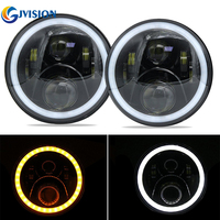 7 Inch Round Headlight Angel Eyes Daymaker LED Headlamp For Jeep Wrangler JK Hummer Lada 4x4