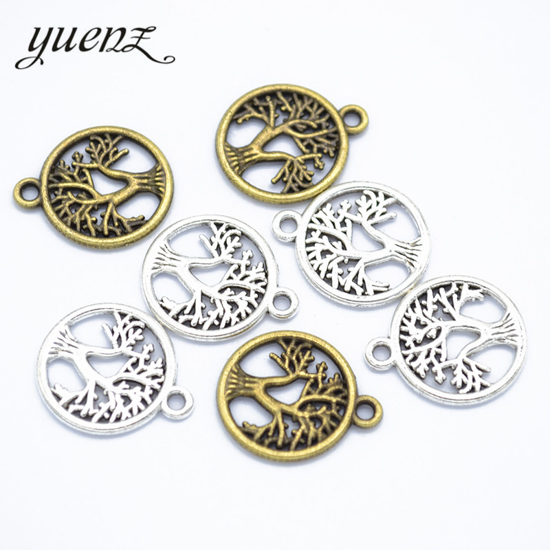 YuenZ 20pcs Antique Silver color Life Tree Charms Pendant For Jewelry Making Diy Bracelet Necklace Round Tree 19*16mm Q243|Charms|   - AliExpress