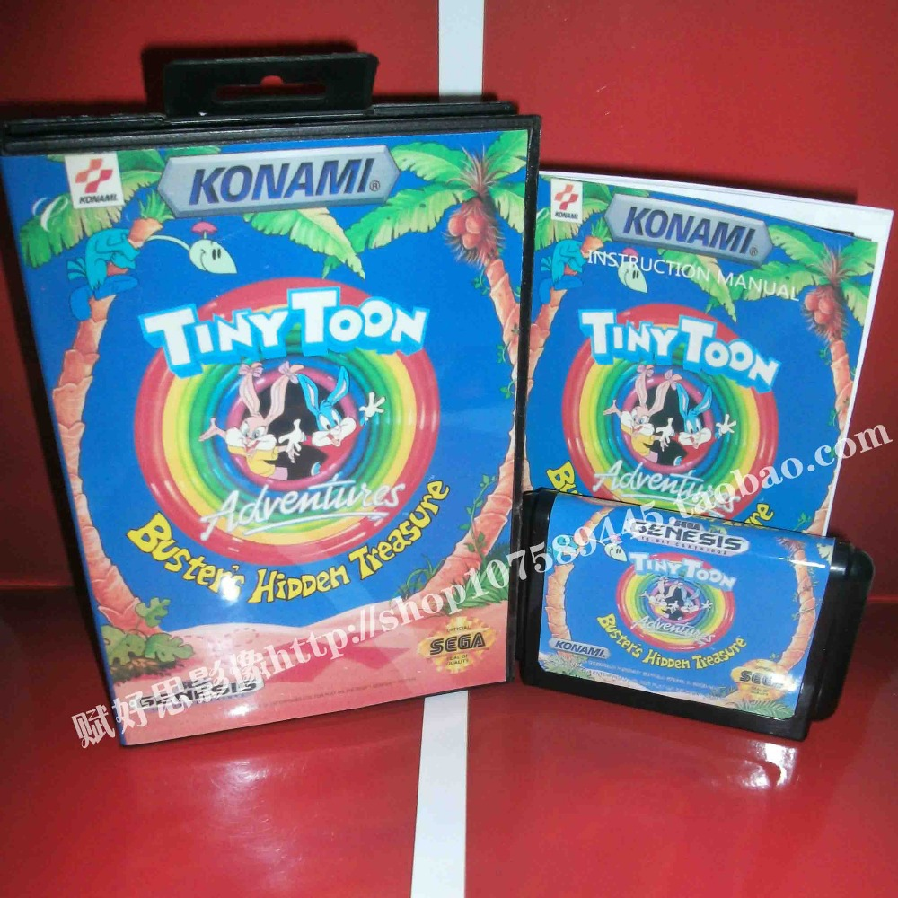 Sega MD game - Tiny Toon with Box and Manual for 16 bit Sega MD game Cartridge Megadrive Genesis system