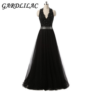 Gardlilac Tulle V-Neck Long Prom Dress Sexy Backless Evening party Dress Black A-line Formal Party Dress