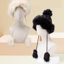 BISON DENIM Fur Pompom Hats Warm Winter Knit Beanie Caps For Women 2019 NEW Bonnet Ladies Cap M9493