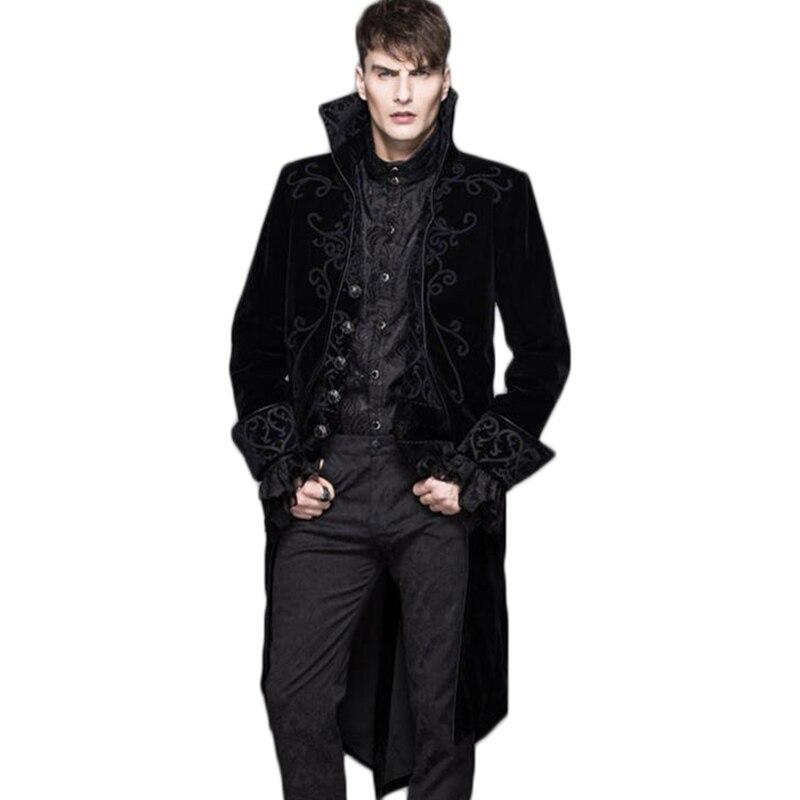 -Los hombres de invierno abrigo de lana Punk gótico único Breasted ropa de manga larga de hombre abrigo negro rojo chaqueta sin capucha