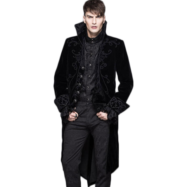 1c0738d09c5 Steampunk Winter Men Wool Coat Punk Gothic Single Breasted Long Sleeve  Clothing Male Trench Coat Black Red Jacket Without Hooded