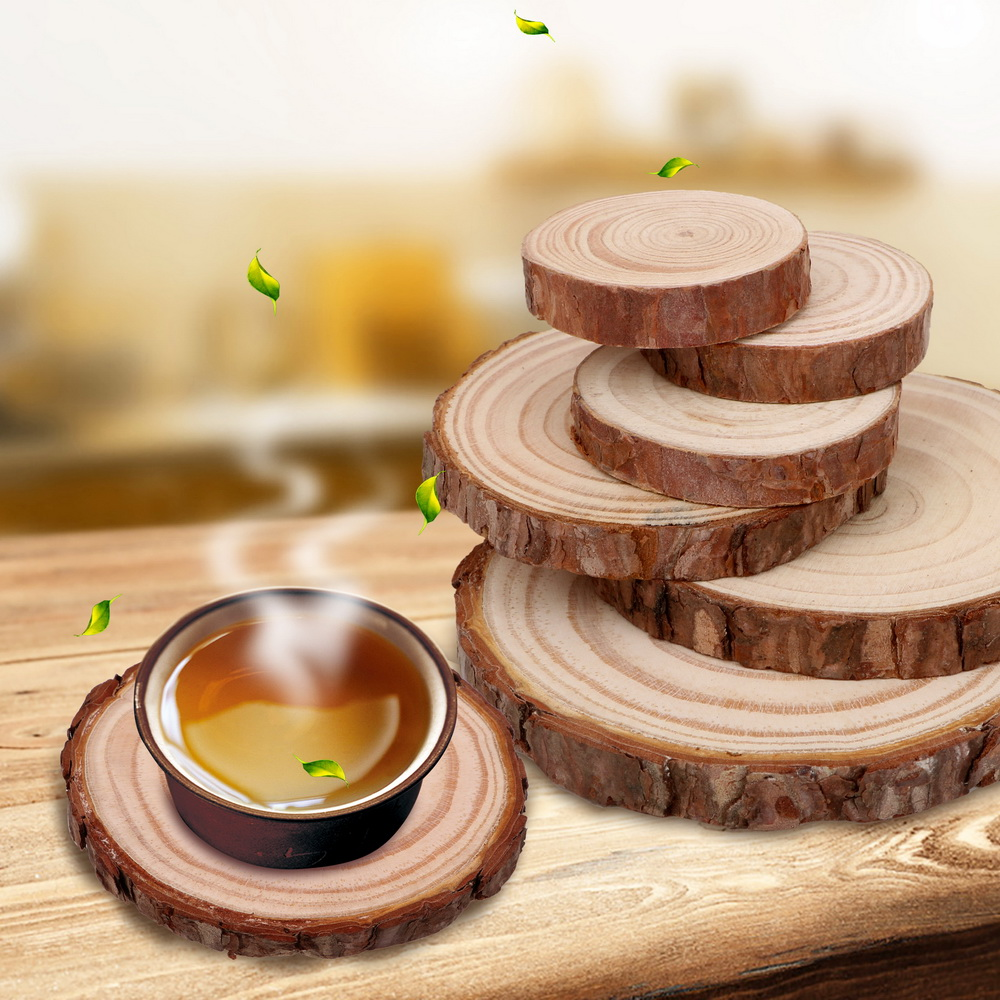 Natural Round Wooden Slice Cup Mat Durable DIY Tableware