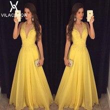 4e15c87fb Verano mujer Sexy vestido amarillo con cuello en V cuello colgante bola vestido  Maxi vestido largo vestido de espalda abierta ve.