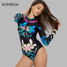AONIHUA Swimsuit For Women 2018 Black printing Front Zipper Vintage One Piece Swimwear Long Sleeve Swimming Suit Beach Wear XL