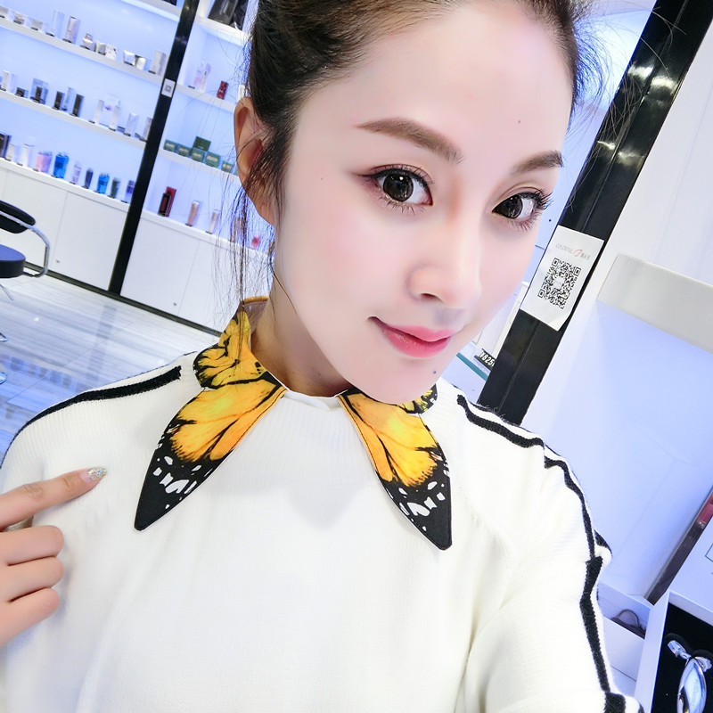 Female Korean Version Of The Original Hand-painted Yellow Butterfly Shirt Fake Collar Boutique Sweater Bottom Decorative Collar