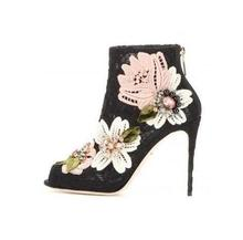 Hot Selling Women Lace Crystal Flower Embroider Spring Autumn Ankle Boots Peep Toe Pointed Toe Back Zipper High Thin Heels women spring autumn peep toe with tassel ankle boots ankle lace up flock fringe women spring autumn peep toe ankle boots