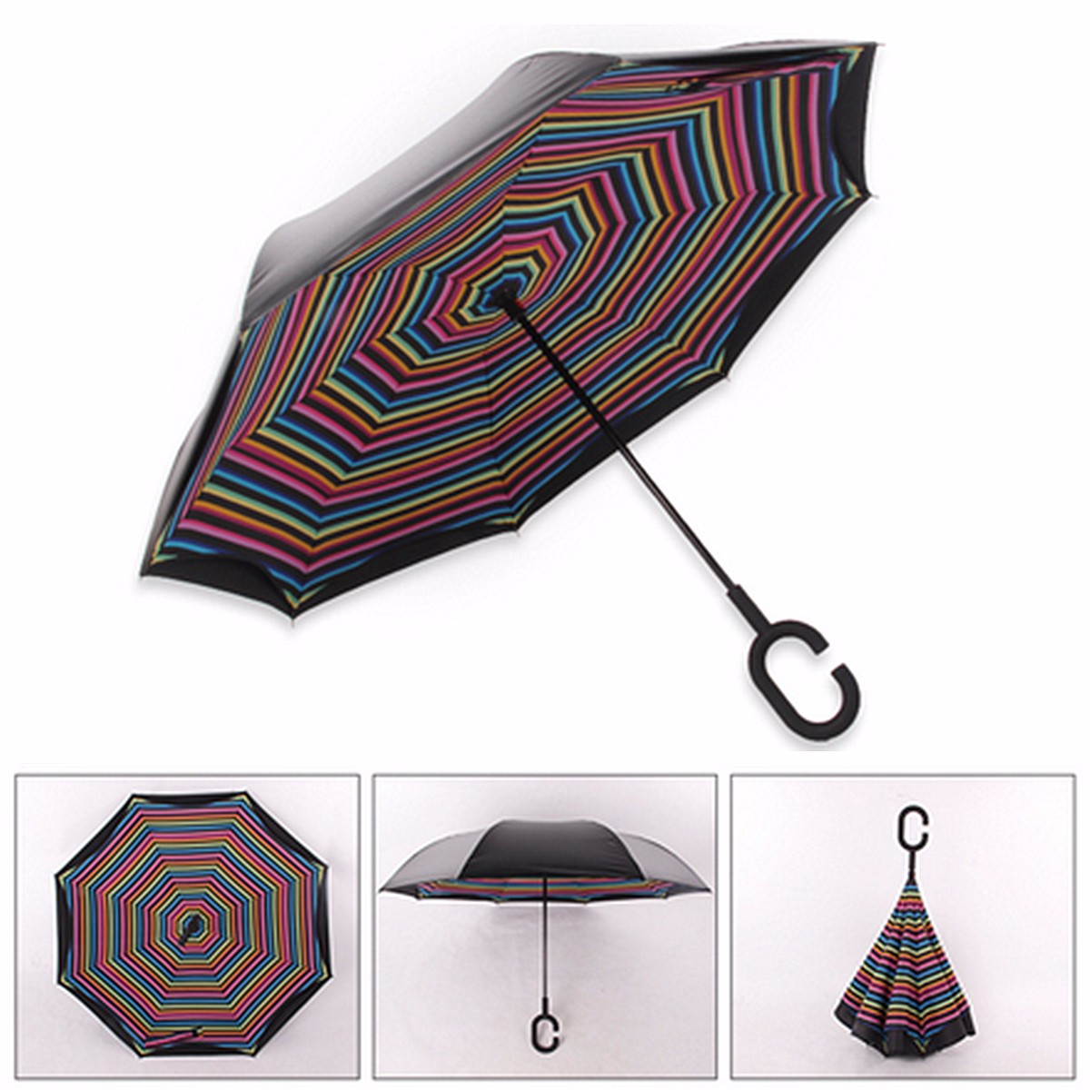 Online color invert picture - Umbrella With C Shaped Hands Double Layer Special Design Inverted Reverse Rainy Sunny Long Handle
