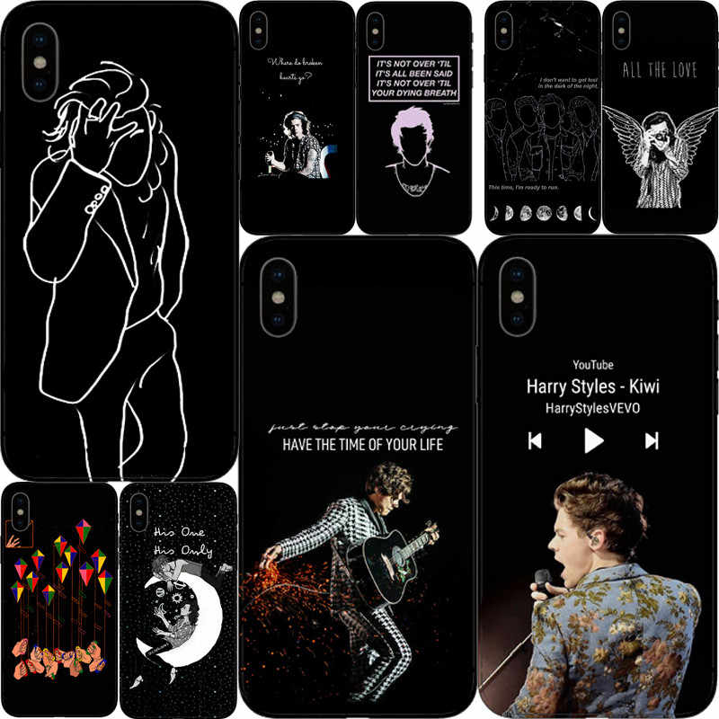 Tatuagens do One Direction Harry Styles чехлы для телефонов для iphone 4 5 6 7 8 Plus X Suave Capa de Silicone Preta Fundas Coque