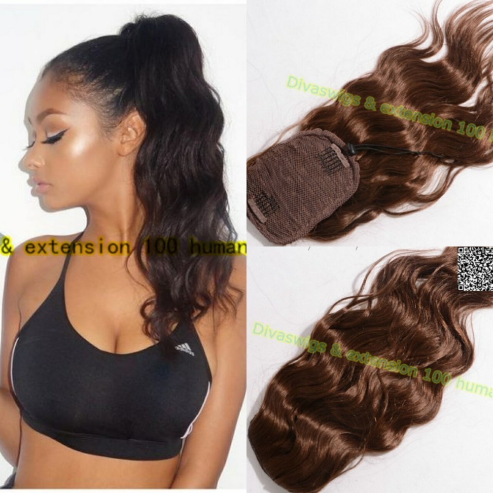 Wavy Human Hair Ponytail Long Hair Clip In Drawstring