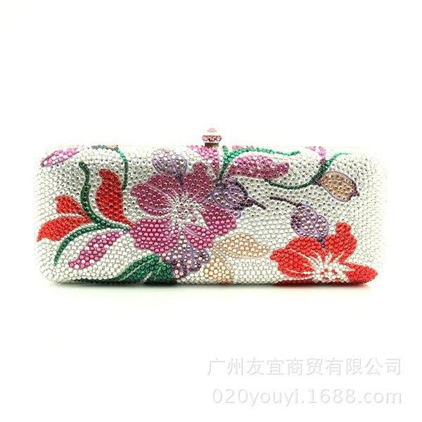 Luxe personnalisé, perceuse complète, sac à main, longue boîte, boîte à fleurs, dîner, sac en cristal de couleur autrichienne, commerce extérieur.