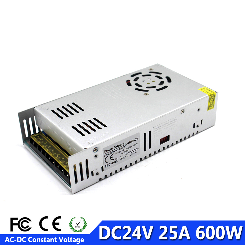 DC Power Supply 24V 25A 600w Led Driver Transformer 110V 220V AC to DC24V Power Adapter