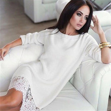2016 New Russia Autumn Winter Women Sexy Lace Dress Fashion Solid Patchwork Long Sleeve Loose cute elegant Dress Women Dresses
