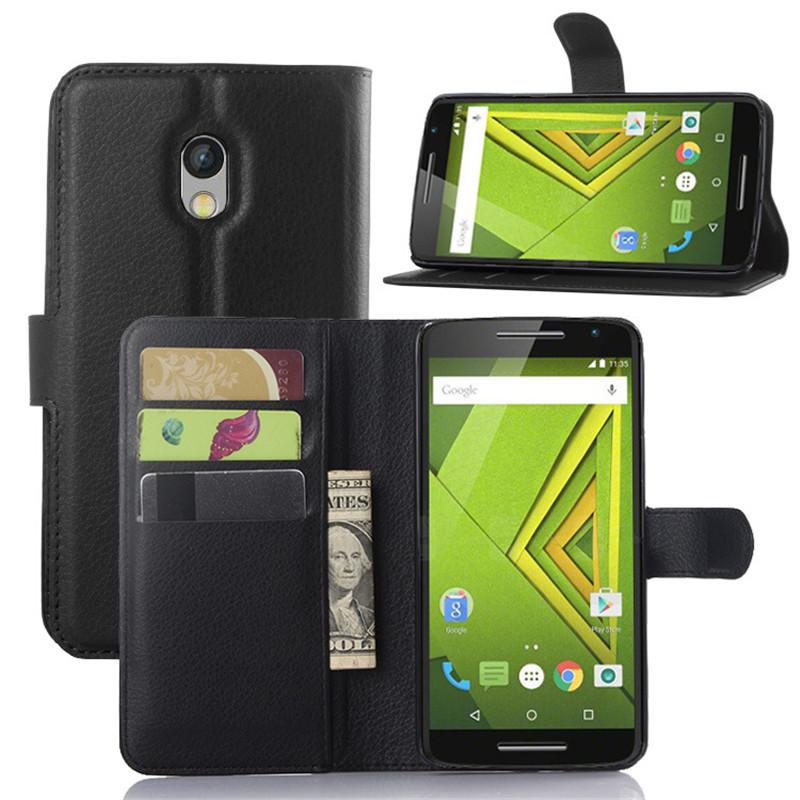 Flip PU Leather Case for Motorola Moto X Play Cover Wallet Phone Cover for Motorola Moto X Play Case with Card Slots & Stand