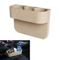 Car Styling Auto Metal Beige 2 Cup Drink Beverage Holder Seat Seam Wedge Holder Truck Mount