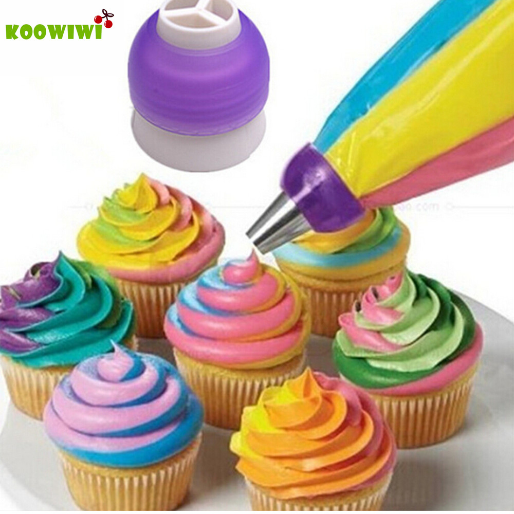 Online color mixer tool - Icing Piping Bag Nozzle Converter Tri Color Cream Coupler Cake Decorating Tools For Cupcake Fondant