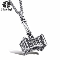 Jiayiqi Fashion New Brand Male Stainless Steel Hammer Thor Pendant Statement Necklace Rock Punk Mens Jewelry