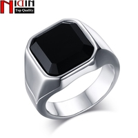 NIDIN High Quality Men S Ring Black High Polished Stainless Steel Men S Jewelry Silver Color