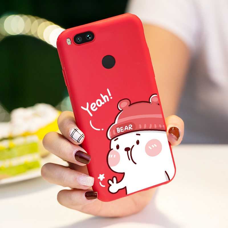ASINA Silicone Cartoon Case For Xiaomi Mi A2 Lite Case Cute 3D Relief Shockproof Bumper For Xiaomi Mi A1 A2 Pocophone F1 Cases in Fitted Cases from Cellphones Telecommunications