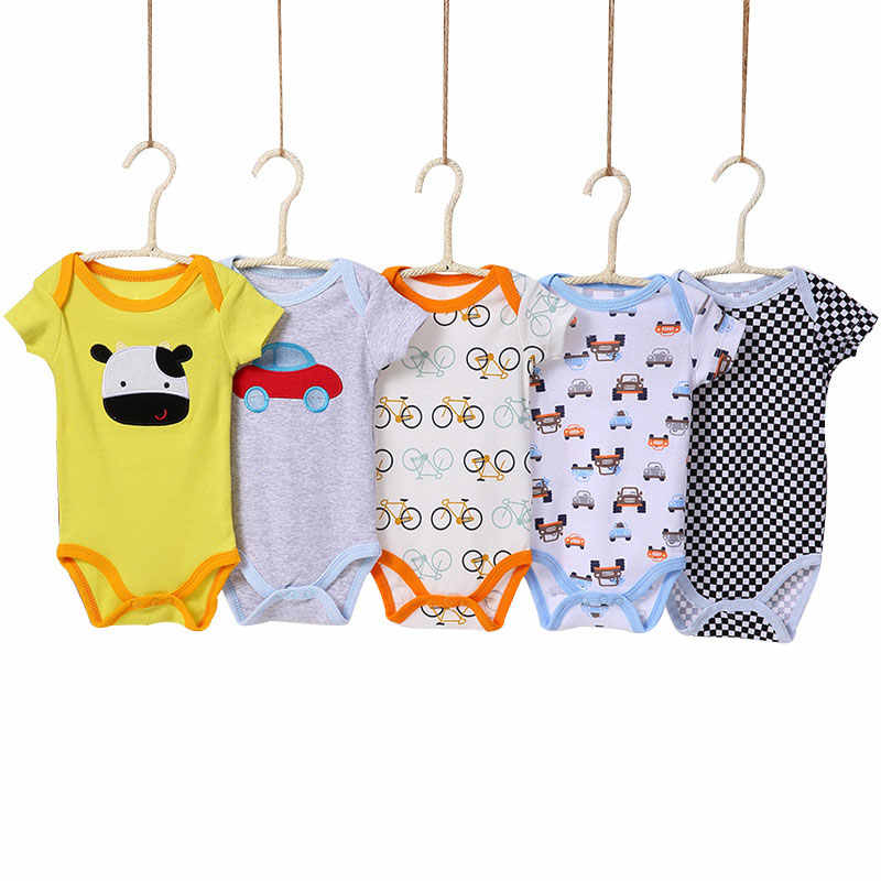 [5 Pieces/lot Random Style]Baby Bodysuit Cotton Short Sleeve Infant Jumpsuit Summer Baby Boy Bodysuits Cartoon Baby Girl Clothes
