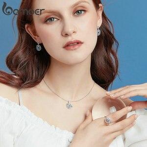Image 3 - BAMOER yüksek kalite 925 ayar gümüş gezegen ziyaretçi ve yuvarlak daire şekli zincir kolye kolye kadınlar lüks takı BSN041